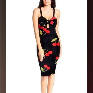 NWT Vibe Cherry Key Hole Bodycon Midi Dress